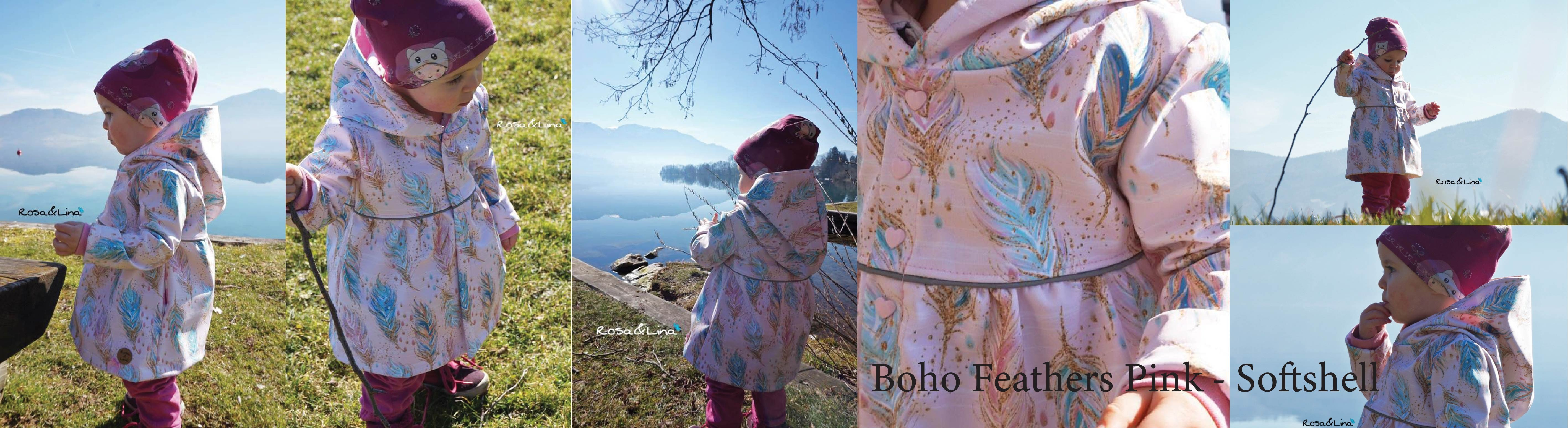 Boho Feathers on pink - Softshell