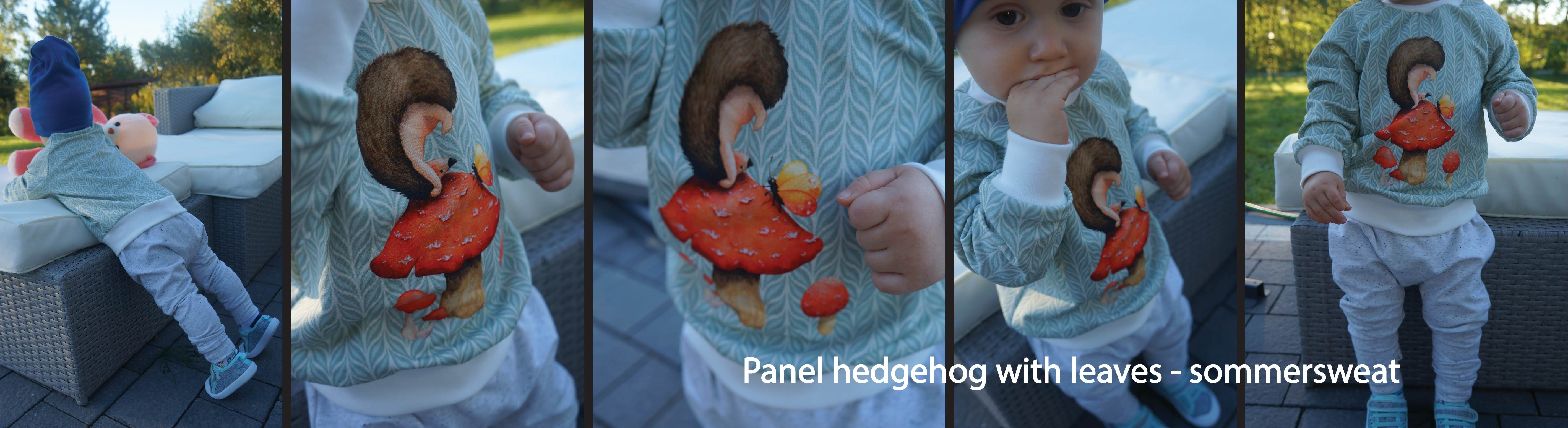 Panel hedgehod with leaves -sommersweat