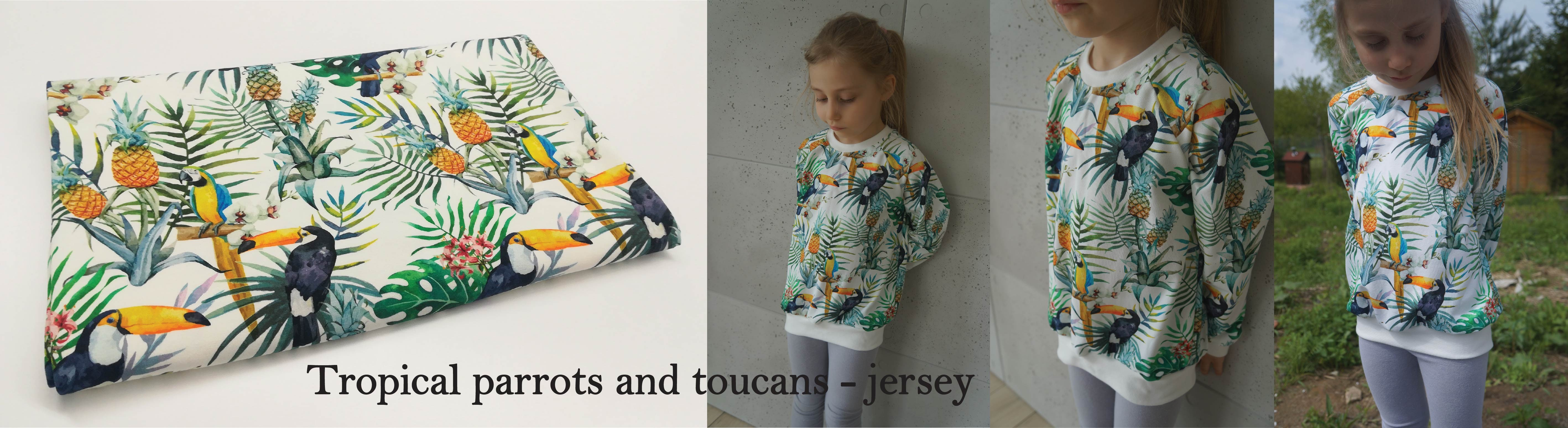 Tropical parrots and toucans - jersey